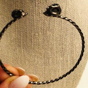 3/$60💎black double skull head cuff bracelet stone